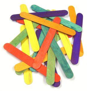 100 Jumbo Coloured Lolly Sticks 7069-100