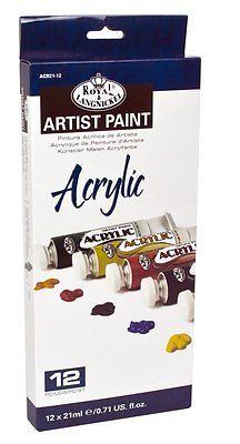 12 Royal Langnickel 21ml Tubes Artist Acrylic Paint