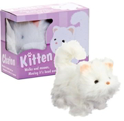 Battery Operated Walking Meowing Kitten Cat Toy - Moves Head & Tail