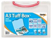Red A3 Clear Plastic File Storage Tuff Box