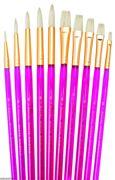 White Bristle Artist Brush Set Includes 10 Various Brushes (svp5)