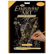 Leopard In Tree Gold Foil Regular Size Engraving Art Scraperfoil