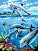 A4 Painting By Numbers Kit - Dolphins Jumping PJS24