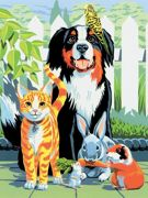 A4 Painting By Numbers Kit - Family Pets PJS29