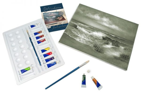 A3 Deluxe Canvas Painting By Greyscale Kit - Hampton Beach Pom-set6