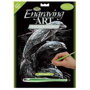 Dolphins Silver Regular Size Engraving Art Scraperfoil