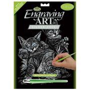 Tabby Cat And Kittens Silver Regular Size Engraving Art Scraperfoil