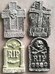 """4 x 12"""" Tombstones Graveyard Gravestones Headstones Halloween Decoration 4SMTMST"""
