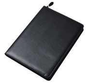 Black Collins Conference Folder Zipped Leather 7018