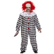 Adult Mens Scary Halloween Clown Costume & Wig