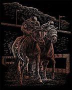 A4 Copper Scraper Foil Engraving Art Kit - Horse Race Jockey