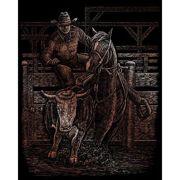 A4 Copper Engraving Art Scraper Foil Kit - Cowboy Rodeo