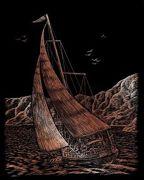 A4 Copper Engraving Art Scraper Foil Kit - Ocean Sailing Race