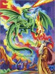 Sorceror Wizard and Dragon Colour Pencil by Numbers Kit Regular Size
