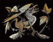 A4 Gold Engraving Art Scraper Foil Kit - Baby Dragon