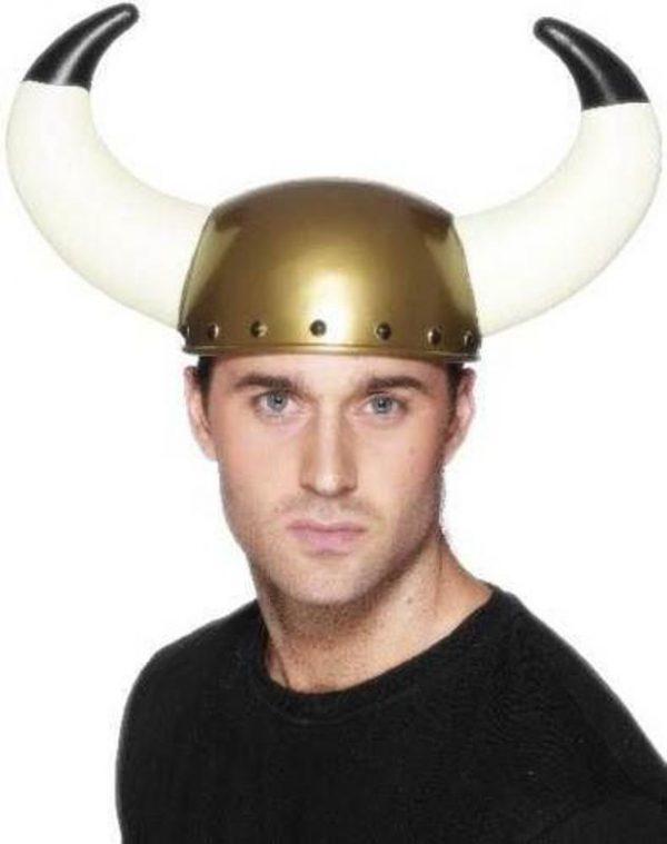 Adult Stag Night Fancy Dress Viking Warrior Plastic Helmet Hat With Horns