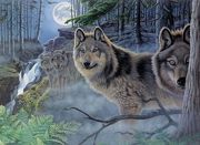 A3 Painting By Numbers Kit - Mystical Moonlight Wolves Pal39