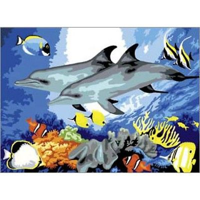 A3 Large Painting By Numbers Kit - Dolphins Pjl10