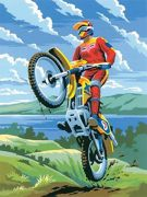 A4 Painting By Numbers Kit - Motocross Motorbike Rider Pjs11