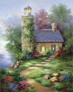 A3 Deluxe Canvas Painting By Greyscale Kit - Romantic Lighthouse Pom-set14