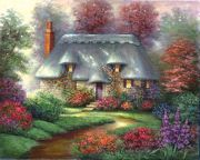 A3 Deluxe Canvas Painting By Greyscale Kit - Romantic Cottage Pom-set3