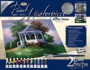 A3 Deluxe Canvas Painting By Greyscale Kit - Lakeside Gazebo Pom-set7