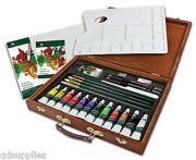26 Piece Artist Premier Deluxe Oil Colour Set With Wooden Case