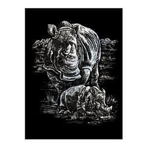 Rhino And Baby Silver Regular Size Engraving Art Scraperfoil