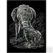 Elephant And Baby Silver Regular Size Engraving Art Scraperfoil Silf22