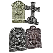 Set of 4 Halloween Graveyard Gravestones Party Decorations Prop 55cm