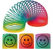 1x 35mm Mini Rainbow Smiley Face Spring