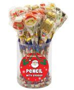 24 Assorted Christmas Pencils & Eraser Tops - W01 304