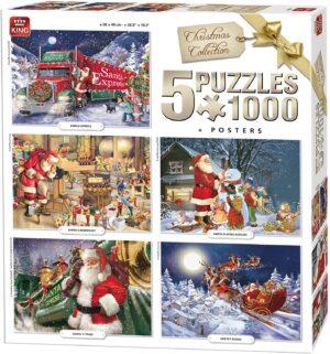 5 x 1000 piece Christmas Jigsaw Puzzles