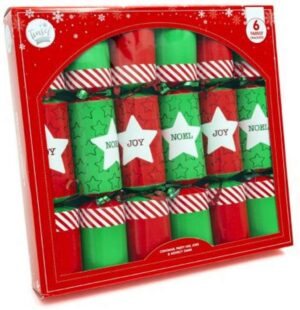 Pack Of Six Red & Green Christmas Crackers