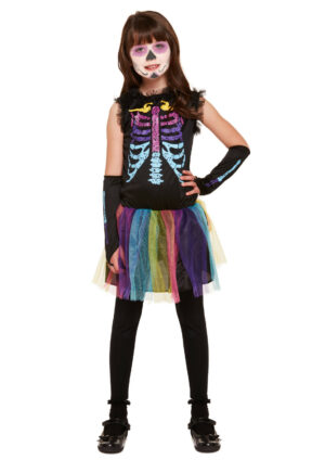 Girls Skeleton fancy Dress Costume