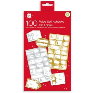 100 Foiled self Ahesive Christmas Gift Labels